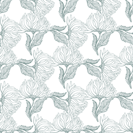 Seamless pattern for paper and textiles with hand drawn aster and chrysanthemum flower buds. Ethnic and nature, floral, retro, tribal design element. Vector repetition background.  イラスト・ベクター素材