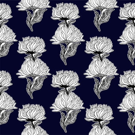 Seamless pattern for paper and textiles with hand drawn aster and chrysanthemum flower buds. Ethnic and nature, floral, retro, tribal design element. Vector repetition background. Ilustração