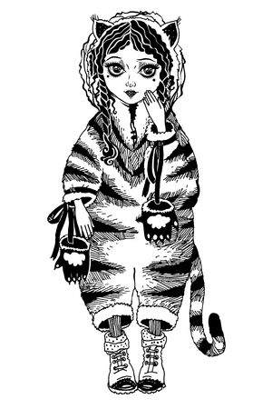 Girl in vintage style wild tiger costume pagamas. Illustration