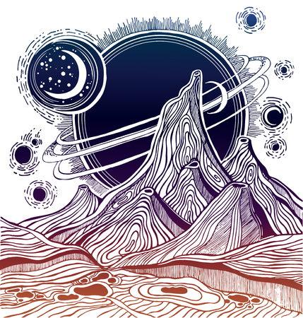 Fantasy alien landscape, vector space illustration