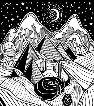 Fantasy linear desert sand landscape with pyramids, dunes, stars and moon. Ancient Egypt. Pyramid tattoo art. Infinite space, sci-fi symbols, travel, futurism. Isolated vector illustration.