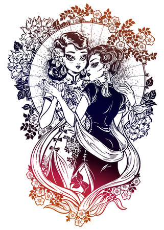 Asian lady of vintage beauty hugs girl in a dance Illustration