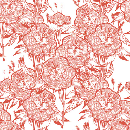 Seamless pattern for paper and textiles with hand drawn naive linear bindweed flower bells. Ethnic and nature, floral, retro, tribal design element. Isolated vector background.