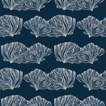 Korallen- oder Algengekritzel lineares nahtloses Muster. Mariner Hintergrund für Textilien, Innendekoration von Kissen, Geschenkpapier, Kosmetik, Getränkeverpackungen. Vektor isolierte Fliese.