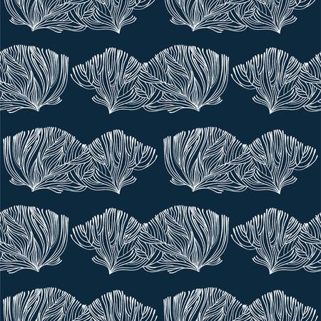 Modèle sans couture linéaire de corail ou d'algues doodle. Fond marin pour textiles, décoration intérieure d'oreillers, papier d'emballage, cosmétiques, emballages de boissons alimentaires. Tuile isolée de vecteur.