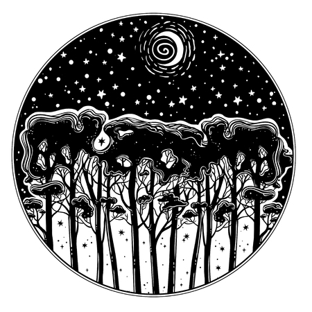 Night starry forest of tall trees silhouette landscape. Hand drawn botanical tree panorama isolated vector circle composition. Outdoors tattoo art, wanderlust and nature.