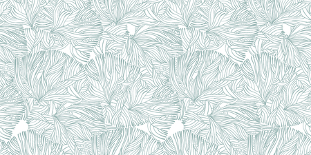 Coral or algae doodle linear seamless pattern. Marine background for textiles, pillow interior decoration, wrapping paper, cosmetics, food drink packaging. Vector isolated tile.