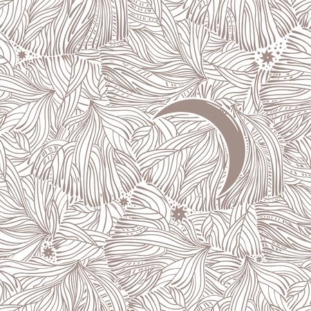 Moon in tree branches linear seamless pattern.