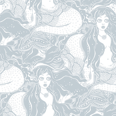 Feminine mermaid girl with fairytale hair and cute face seamless pattern. Ocean siren in retro style. Sea, fantasy, spirituality, mythology, background. Repetition vector illustration.