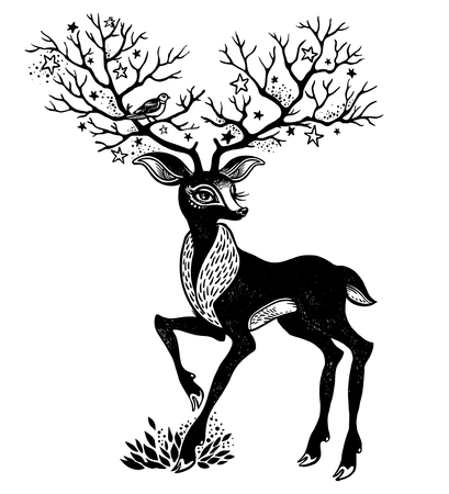 Portrait of a cute horned deer - spirit of the forest. His beautiful antlers are like trees. Forest nature character. Sticker, tattoo, print, t-shirt design. Isolated vector wildlife symbol.