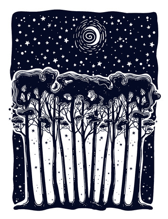 Night starry forest of tall trees silhouette landscape. Hand drawn botanical tree panorama isolated vector. Outdoors tattoo art, wanderlust and nature.  イラスト・ベクター素材