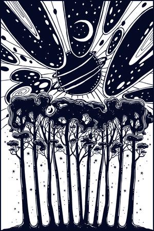 Paisaje de bosque nocturno estrellado y cielo surrealista.