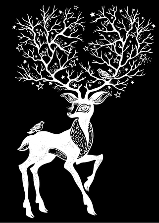 Portrait of a cute magic horned deer - spirit of the forest. His beautiful antlers are like trees. Forest nature character. Sticker, tattoo, print, t-shirt design. Isolated vector wildlife symbol.  イラスト・ベクター素材