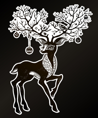 Portrait of a cute Christmas deer - festive spirit of the forest. His beautiful antlers are like trees. Forest nature character. Sticker, tattoo, print, t-shirt design. Isolated vector wildlife symbol