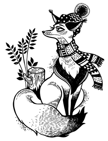 Fox in cosy scarf and winter hat illustration. Line art drawing. Forest nature character. Sticker, tattoo, print, t-shirt design. Isolated vector. Christmas, adventure, wildlife symbol. North animal