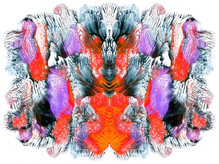 Bright color abstract painting in Mono Type style.