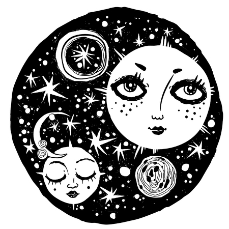 Naive kawaii night space composition. Hand drawn sun and moon with face. For cover, tattoo, print template. Cute doodle with astral and celestial sky elements. Vector isolated illustration.