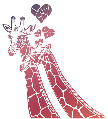 Two Giraffes portrait as a pair of partners in love with hearts, spotted long neck African animal couple. Isolated vector illustration. Nature, friendship tattoo, relationship romantic t-shirt design.