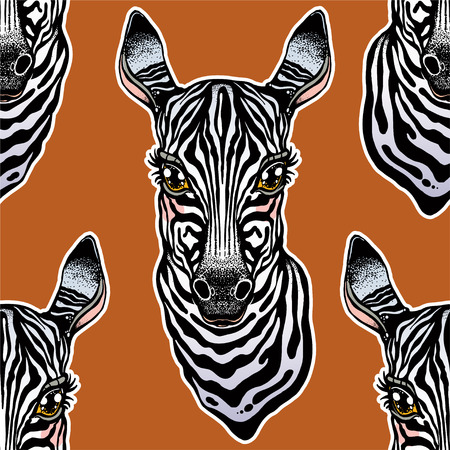 Big eyed cute Zebra head seamless pattern. African animal hand drawn portrait tile. Background vector illustration. Nature savanna print, striped wallpaper design.