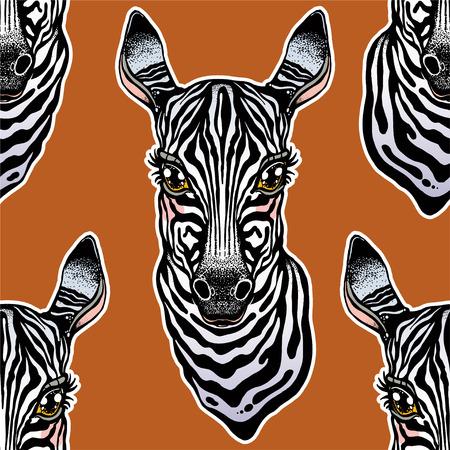 Big eyed cute Zebra head seamless pattern. African animal hand drawn portrait tile. Background vector illustration. Nature savanna print, striped wallpaper design. Stok Fotoğraf - 125056887