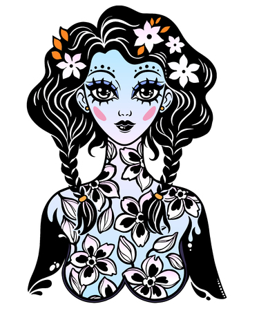 Beautiful magic fairy girl with body of blooming flowers as a spring or summer season symbol. Vector isolated illustration. Cute kawaii style art, tattoo. Graceful t-shirt design. Stock Illustratie