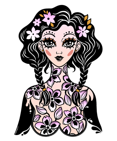 Beautiful magic girl with body of blooming flowers as a spring or summer season fairy symbol. Vector isolated illustration. Cute colorful kawaii style art, tattoo. Graceful t-shirt design.