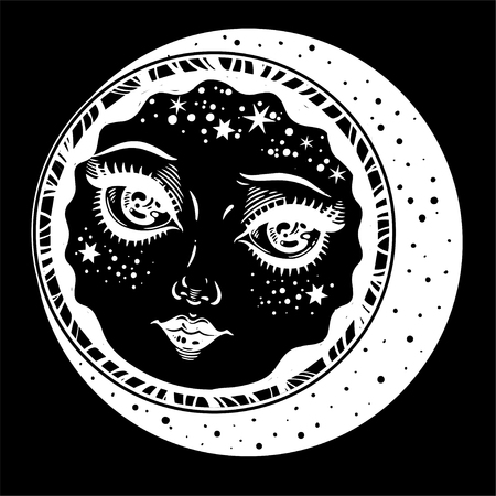 Nature vintage style magic night diety as crescent moon. Hand drawn portrait of a planet with face of a girl. Alchemy, religion, spirituality, occultism, tattoo art. Isolated vector illustration. Ilustração