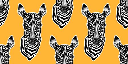 Big eyed cute Zebra head seamless pattern. African animal hand drawn portrait tile. Background vector illustration. Nature savanna print, striped wallpaper design.