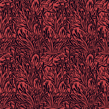 Tree branches or coral algae doodle linear seamless pattern. Marine seaweed background for textiles, pillow interior decoration, wrapping paper, cosmetics, food drink packaging. Vector isolated tile.