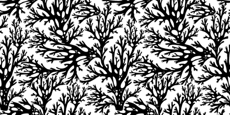 Tree summer branches or coral algae doodle linear seamless pattern. Marine seaweed background for textiles, interior decoration, wrapping paper, cosmetics, food drink packaging. Vector isolated tile. 일러스트