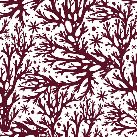 Tree summer branches or coral algae doodle linear seamless pattern. Marine seaweed background for textiles, interior decoration, wrapping paper, cosmetics, food drink packaging. Vector isolated tile. Illustration