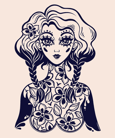 Beautiful magic girl with body of blooming flowers as a spring or summer season fairy symbol. Vector isolated illustration. Cute kawaii style art, tattoo. Graceful t-shirt design.