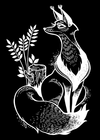 Cute fox illustration. Decorative line art drawing. Forest nature character. Sticker, tattoo, print, t-shirt design. Isolated vector. Freedom, adventure wildlife symbol North animal