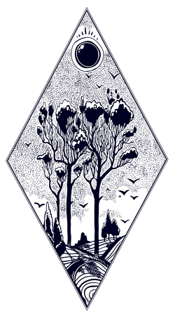 Wild winter or early spring nature landscape with tall trees, snowy land, birds and roads junction in the woods. Hand drawn illustration isolated vector. Outdoors tattoo art, wanderlust.