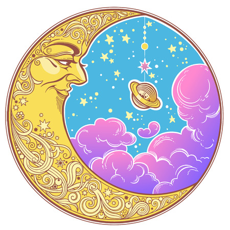 Portrait of a beautiful ornate crescent moon face in night sky with a Saturn planet and clouds. Boho sticker, alchemy tattoo, poster, altar veil, tapestry or fabric print design vector illustration.  イラスト・ベクター素材