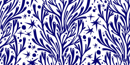 Branches d'arbres ou algues de corail doodle motif sans soudure linéaire. Fond d'algues marines pour textiles, décoration intérieure d'oreillers, papier d'emballage, cosmétiques, emballages de boissons alimentaires. Tuile isolée de vecteur.