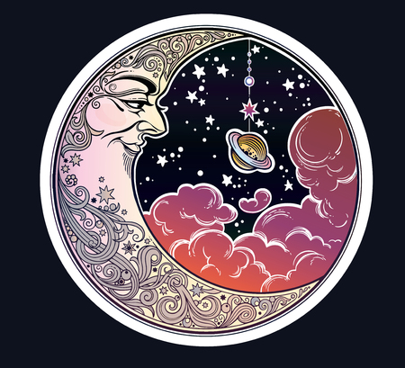 Portrait of a beautiful ornate crescent moon face in night sky with a Saturn planet and clouds. Boho sticker, alchemy tattoo, poster, altar veil, tapestry or fabric print design vector illustration. Ilustração