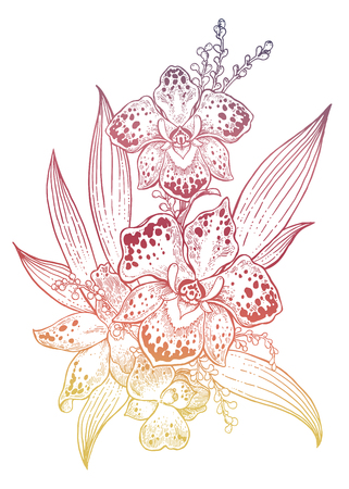 Orchid tropical flower composition in hand drawn vintage style. Stock Illustratie