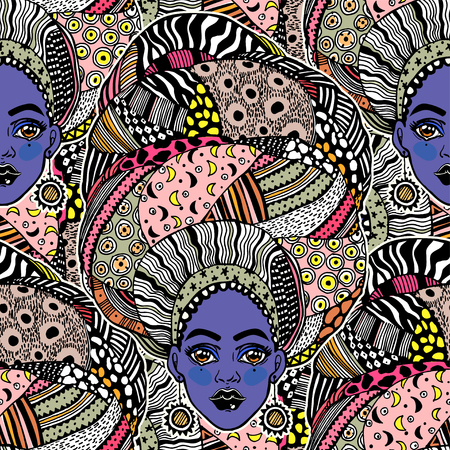Seamless pattern with African woman in traditional geometric turban, head wrap.