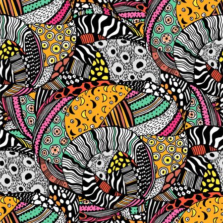 Modello senza cuciture africano di moda stile etnico. Arte geometrica tradizionale con un tocco ingenuo. Sfondo di fusione di diversità di tessuti urbani. Piastrelle tribali tradizionali, carta da parati. Vettoriali