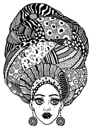 Young beautiful African or Indian girl in urban fashion with traditional geometric turban, head wrap. Ornate headwrap and gorgeous face. Vector isolated illustration. Tattoo. Ethnic t-shirt design.