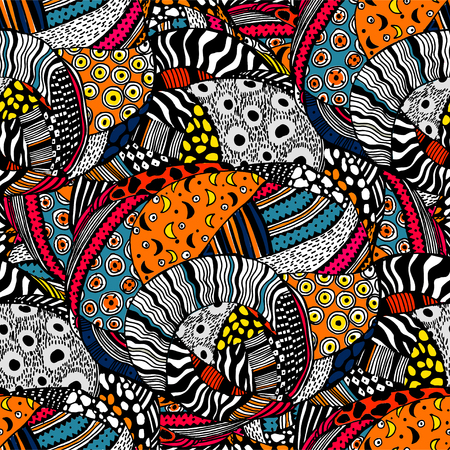 Ethnic style fashion African seamless pattern. Traditional geometric art with naive twist. Urban fabrics diversity fusion background. Traditional tribal tile, wallpaper. Illustration