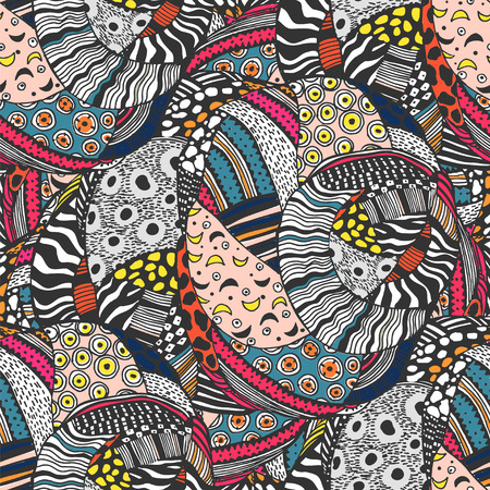 Ethnic style fashion African seamless pattern. Traditional geometric art with naive twist. Urban fabrics diversity fusion background. Traditional tribal tile, wallpaper. 向量圖像