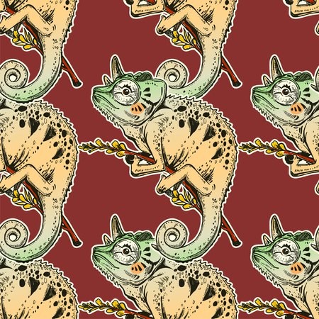 Chameleon lizard seamless pattern. Colorful tropical reptile background. Vector ornament. Colorful tile of a tropical animal.