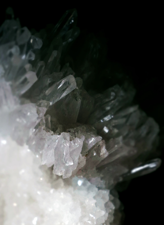 Gemstone Quartz closeup as a part of cluster geode filled with rock crystals. Stock Photo
