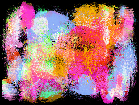 Bright abstract creative splashes and ink strokes effect. Artistic digital watercolor or paint. Banco de Imagens
