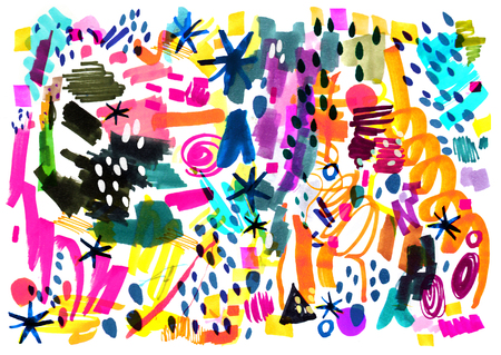 Modern multicolor futuristic pop art pattern. Bright color abstract painting in Neo Memphis style.