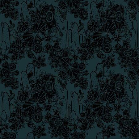 Nahtloser Musterhintergrund der Natur mit Blumen, Sukkulenten und Kaktus. Handgezeichnet, ethnisch, floral, Retro, Doodle, Vektor-Stammes-Design-Element. Handgezeichnete Wüste naiver Hintergrund.