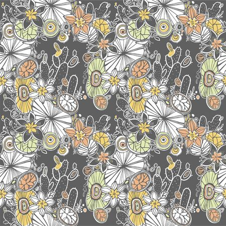 Nature seamless pattern background with flowers, succulents and cactus. Hand-drawn, ethnic, floral, retro, doodle, vector tribal design element. Hand drawn desert naive backdrop. Çizim