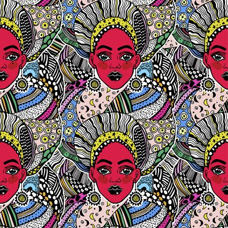 Seamless pattern with magic female spirit in traditional geometric turban, head wrap. Magic exotic background. Young beautiful goddess girl in traditional ethnic attire. Tile, wallpaper.